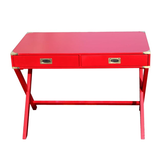 "Campaign 1970s Campaign Desk in ""Lipstick"" Red & Brass Hardware For Sale - Image 3 of 7"