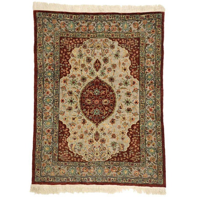 Early 20th Century Early 20th Century Antique Turkish Silk and Gold Hereke Rug - 3′4″ × 4′5″ For Sale - Image 5 of 5