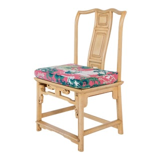 1960s Vintage Baker Furniture Yellow Chinoiserie Chair For Sale
