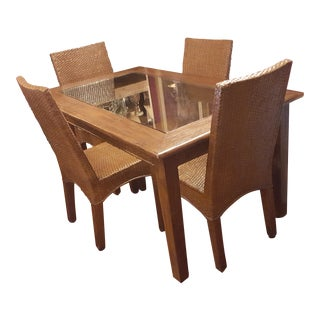 Vintage Rattan & Bamboo Dining Set For Sale
