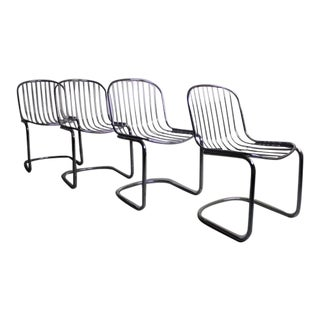 Italian Chrome Dining Chairs - Set of 4