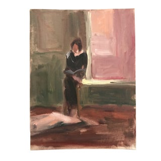 Interior Painting of a Lady Reading For Sale