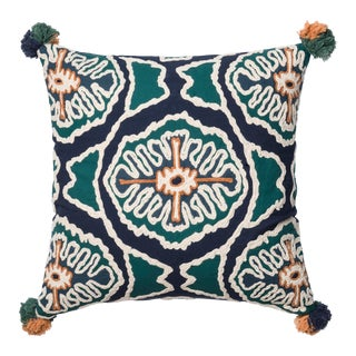 """Justina Blakeney X Loloi Blue / Teal 22"""" X 22"""" Cover with Down Pillow For Sale"""