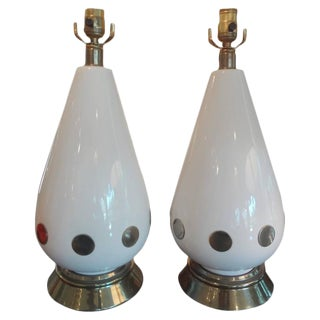 1970's Vintage Italian Mid Century Modern Lamps - a Pair For Sale