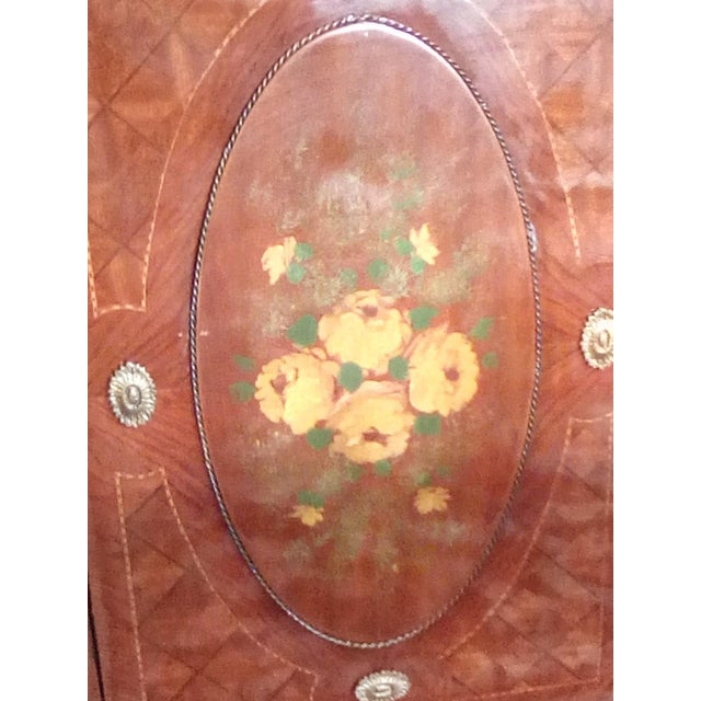 1960 French Server With Painted Floral Motif For Sale - Image 9 of 11