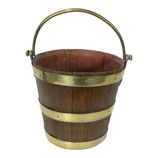 19th Century English Peat Bucket With Brass Banding