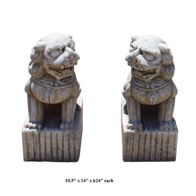 Stone Chinese Distressed Marble Stone Fengshui Foo Dogs Statues - a Pair For Sale - Image 7 of 7