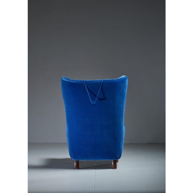 Mid-Century Modern Mogens Lassen Attributed Wingback Lounge Chair, Denmark, 1940s For Sale - Image 3 of 4