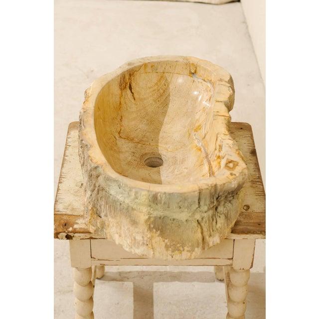 Organic Modern Petrified Wood Sink For Sale In Atlanta - Image 6 of 8