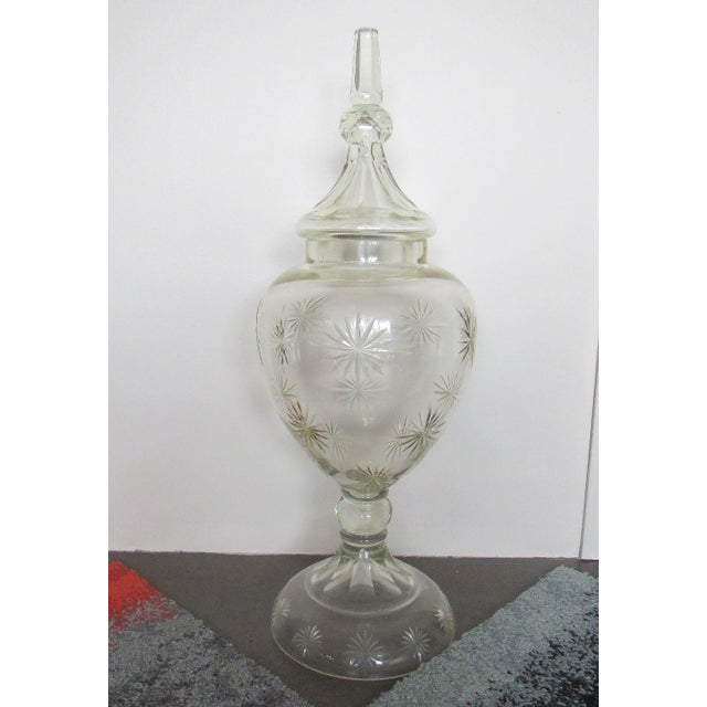"""Pair 30"""" Tall Cut Crystal Glass Lidded Apothecary Jars For Sale - Image 5 of 11"""