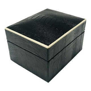 Vintage R&y Augousti Decorative Box in Black Ostrich Leather and Bone, Circa 2000 For Sale