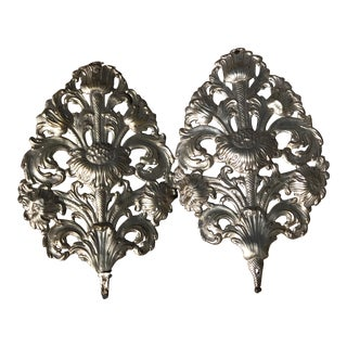 Altar Flowers Pierced Brass Silver Wall Sculptures - a Pair For Sale