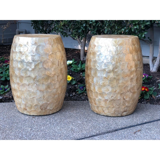 Late 20th Century Vintage Capiz Shell Garden Stools- A Pair For Sale - Image 12 of 12