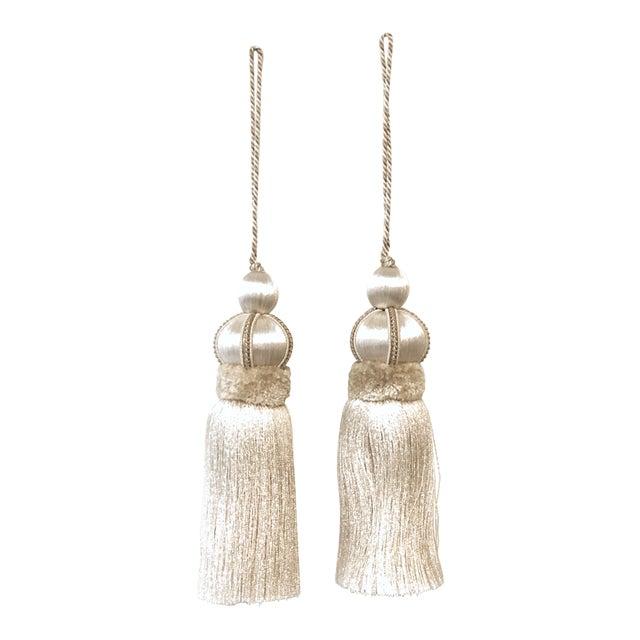 Ivory Key Tassels W Cut Velvet Ruche - a Pair For Sale