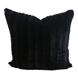 Onyx Channeled Faux Fur & Chevron Reverse Double-Sided Pillow Cover For Sale