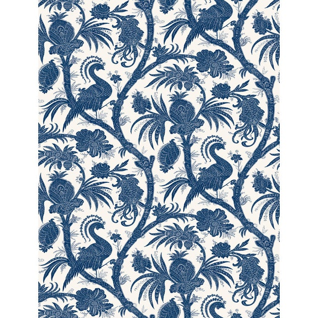Transitional Red by Scalamandre Peel & Stick Wallpaper, Balinese Peacock, Indigo For Sale - Image 3 of 3