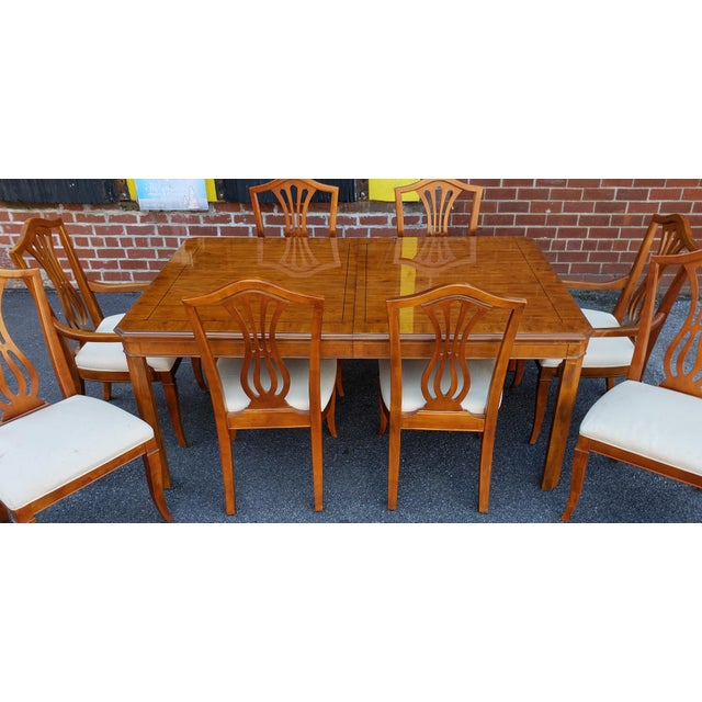 1990s Drexel Heritage Yorkshire Collection Yew Wood Parsons Dining Table Sheraton Chairs 9