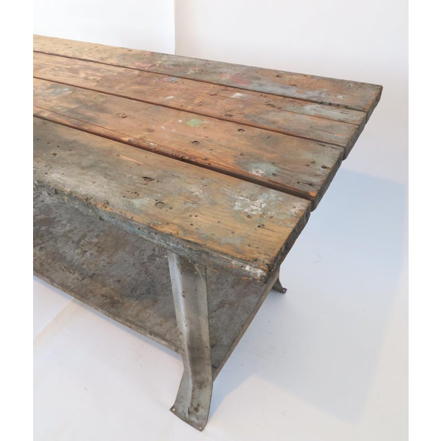 Industrial Plank Top Work Table - Image 3 of 7