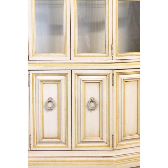 Baker Breakfront French Country Glass Shelves, Lighting and Two Storage Cabinet - 2 Pc. For Sale In Providence - Image 6 of 12