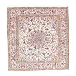 "Pasargad N Y Persian Isfahan Hand-Knotted Silk & Korker Wool Rug - 8'2"" X 8'4"" For Sale"