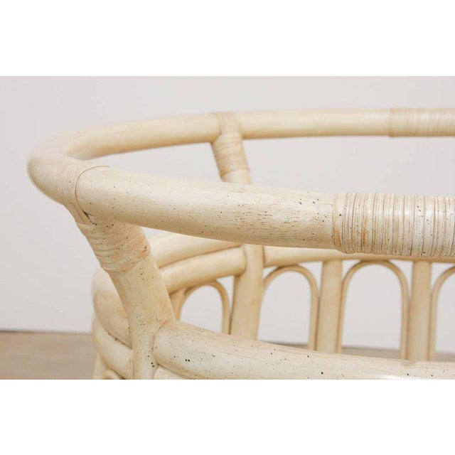 White Bamboo Rattan Lacquered Round Dining Table by Brown Jordan For Sale - Image 8 of 13