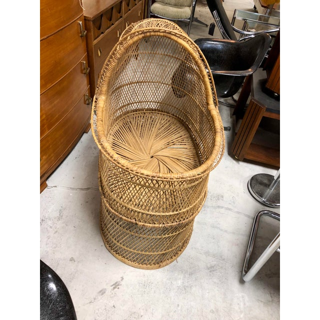 1970s Vintage Boho Chic Rattan Bassinet For Sale - Image 4 of 6