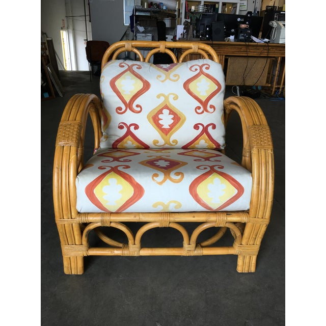 "Mid-Century Modern Restored Three Strand ""Circles and Speed"" Rattan Lounge Chair With Ottoman For Sale - Image 3 of 9"