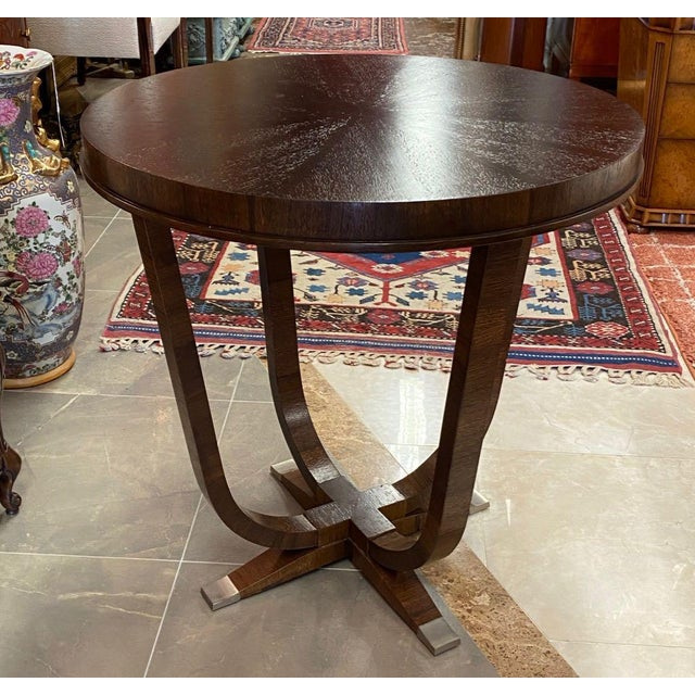 Lucien Rollin St Honore accent table made by William Switzer. The French art deco design is an homage to Emile-Jacques...
