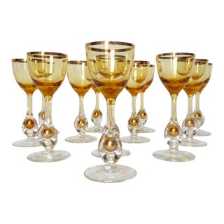 1960s Italian Handblown Amber & Gilt Gold Crystal Cordial Glasses -Set of 12 For Sale