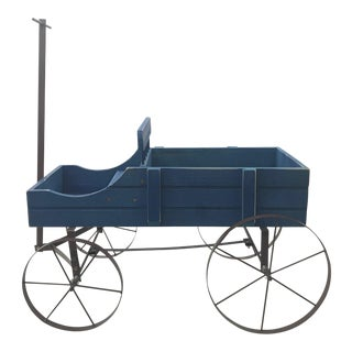 Vintage Blue Wagon Planter