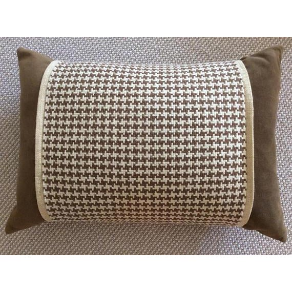 Chocolate Brown Velvet, Brown & Cream Houndstooth Check Woven Pillow Covers - A Pair - Image 3 of 5