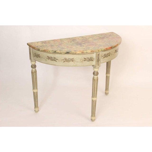 Louis Philippe painted demilune console table with a faux marble top, circa 1840. The paint is 20th century.