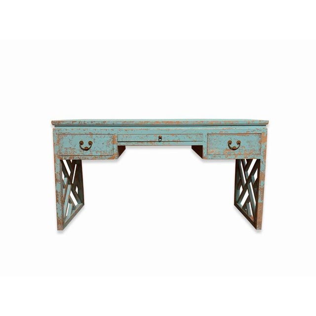 Asian Distressed Panel Legs Desk For Sale In New York - Image 6 of 6