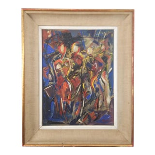 Vintage Mid-Century Portrait of Four Females Painting For Sale