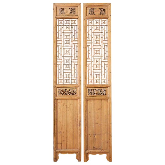 Pair of Chinese Carved Doors With Lattice Windows For Sale