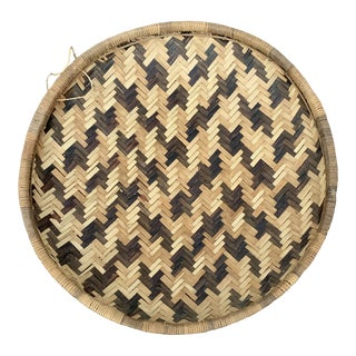 Vintage Woven Hanging Wall Basket For Sale