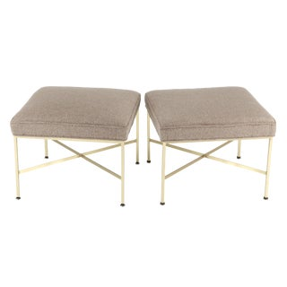 1950S VINTAGE PAUL MCCOBB X-BASE BRASS STOOLS- A PAIR For Sale
