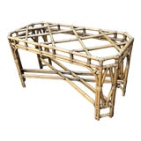 Image of Vintage McGuire Style Chippendale Leather Wrapped Rattan Bamboo Table Base For Sale