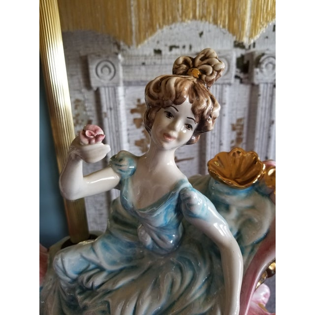 Pink Vintage Mid 20th Century Italian Lady Cherubs Swans Lamps - a Pair For Sale - Image 8 of 12
