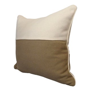 Modern Wool Cram and Taupe Accent Pillow For Sale