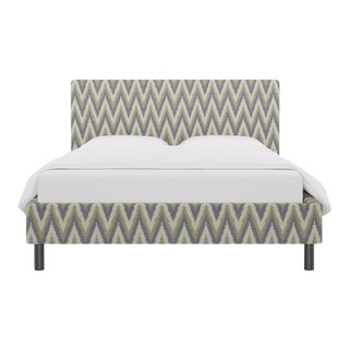 Queen Tailored Platform Bed in Chevron Ikat By Scalamandre For Sale