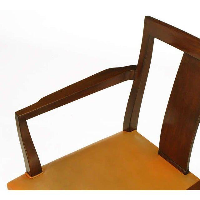 Eight Edward Wormley Mahogany, Leather and Brass Dining Chairs - Image 8 of 9