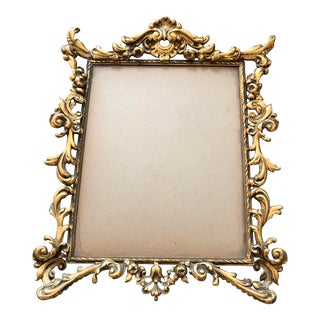 Vintage Ornate Brass Photo Frame Rococo Style For Sale
