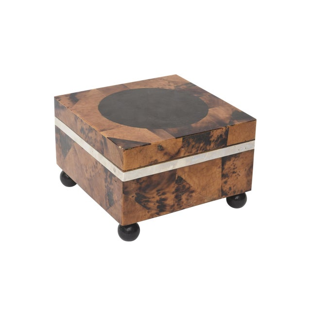 Maitland Smith Tessellated Tortoise Shell, Wood and Chrome Hinged Box For Sale