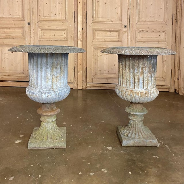 Pair Large 19th Century Cast Iron Jardinieres ~ Garden Vases For Sale - Image 4 of 12