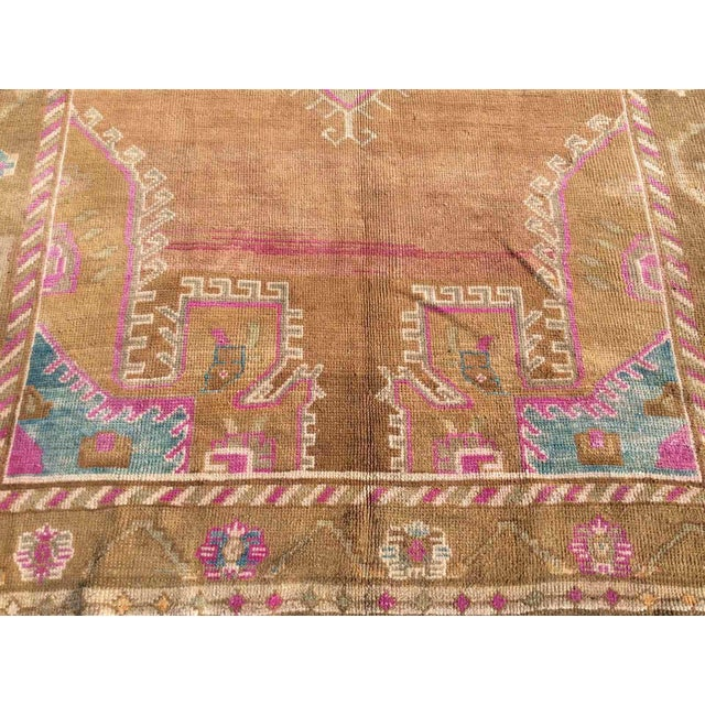 Hand Knotted Brown Turkish Rug For Sale - Image 4 of 12
