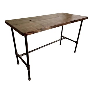 Industrial Black Pipe & Solid Wood Computer Desk For Sale
