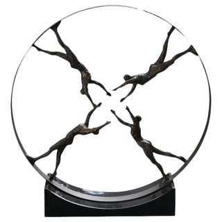 """""""Reaching for Center"""" Large Iron Sculpture With Granite Base"""