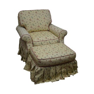Highland House Yellow Butterfly Upholstered Chair & Ottoman For Sale