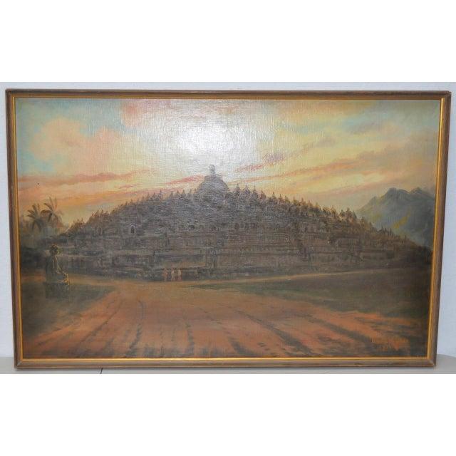 Mid-Century Javanese Temple Oil Painting by Frederik Kasenda C.1950s For Sale - Image 9 of 9